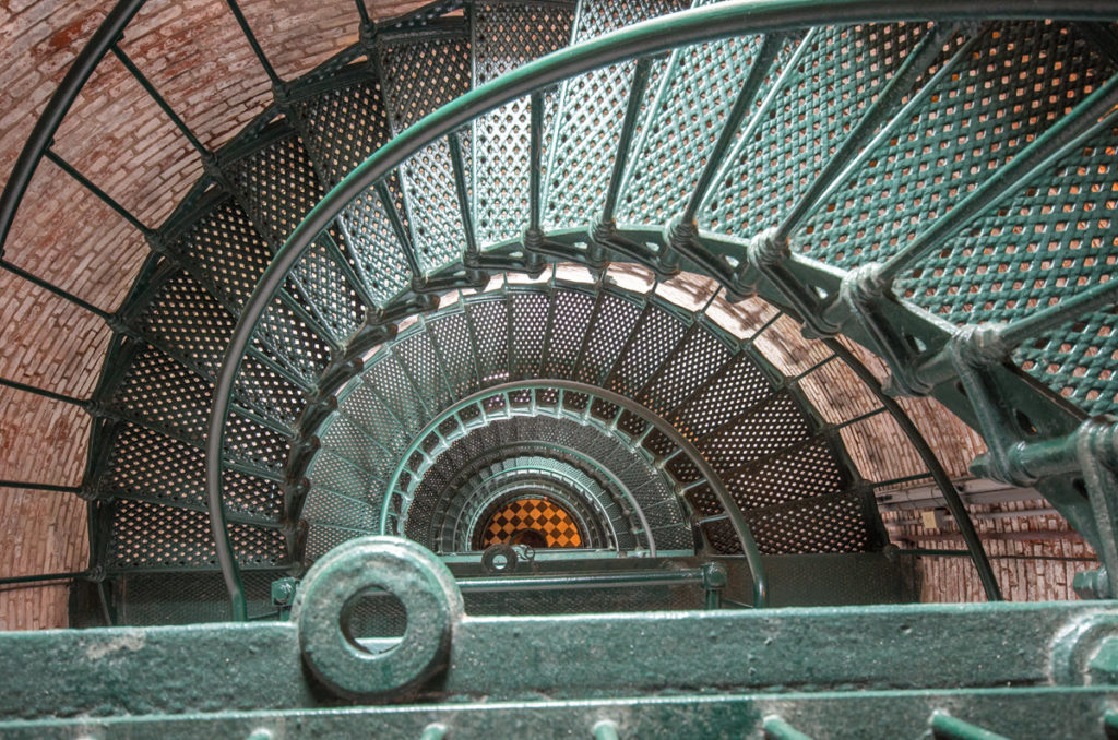 Inside view of the spiral staircase of the Currituck Beach lighthouse