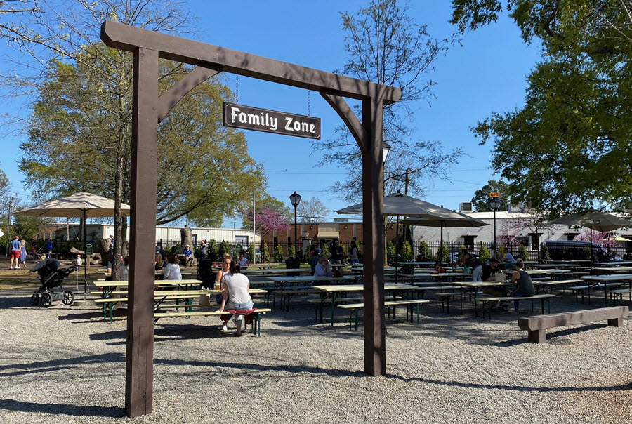 Family zone at the Olde Mecklenburg Brewery beer garden